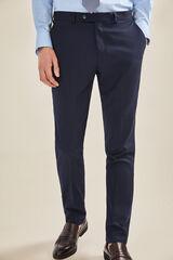 Cortefiel Pantalón traje marino slim fit Azul