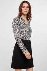 Cortefiel Falda negra de tejido confort Negro