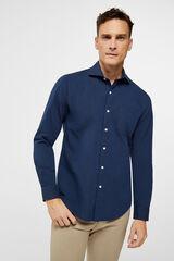 Cortefiel Camisa lisa tejido de estructura Azul