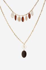 Cortefiel Colgante de doble cadena con piedras Beige