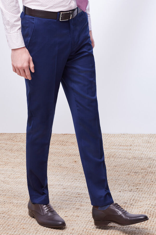 Cortefiel Pantalón traje slim liso Azul fb5e43a6581