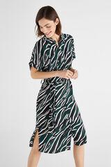 Cortefiel Vestido cargo estampado animal Verde