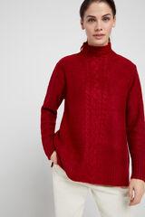 Cortefiel Jersey largo trenza Rojo