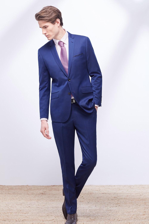 2feab676f2fda Cortefiel Pantalón traje slim liso Azul