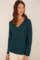 Cortefiel Camiseta escote pico tacto suave Verde
