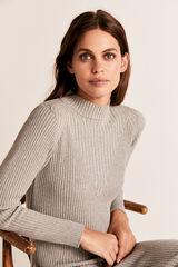 Cortefiel Vestido largo canalé tricot Gris