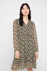 Cortefiel Vestido curto estampado manga comprida Cinzento
