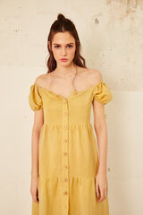 Cortefiel Vestido midi lino Amarillo