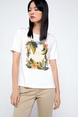 Cortefiel Camiseta orgánica estampada Blanco