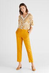 Cortefiel Calças de tencel Amarelo