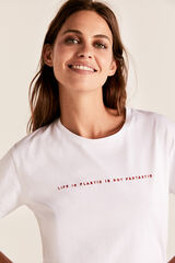 Cortefiel Camiseta texto bordado Blanco