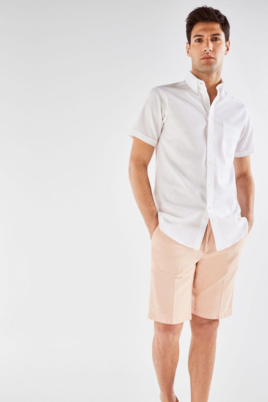bea6ca1fb6 Cortefiel Camisa manga corta en lino algodón Blanco