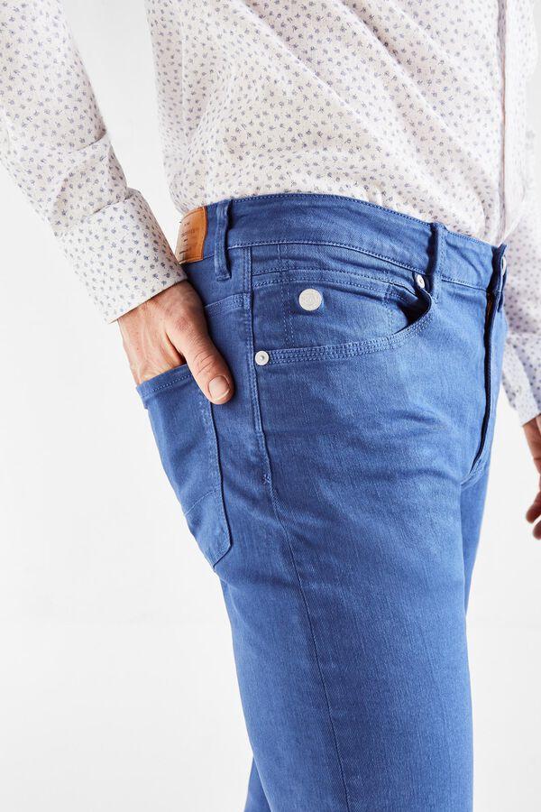 4f3711d331 Cortefiel Pantalón 5 bolsillos color slim fit Azul