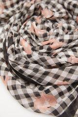 Cortefiel Lenço de seda ecológico xadrez Vichy Preto