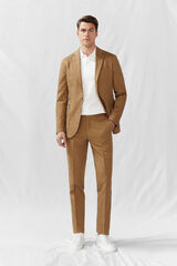 Cortefiel Americana algodón lino slim fit Beige