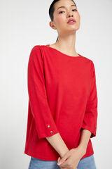 Cortefiel Camiseta escote barco algodón orgánico Rojo