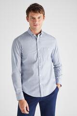 Cortefiel Camisa lisa fil a fil Azul