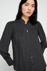 Cortefiel Camisa franela gris Gris