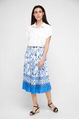 Cortefiel Falda estampada plisada Azul