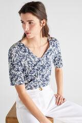 Cortefiel Camiseta algodón orgánico pico Marfil