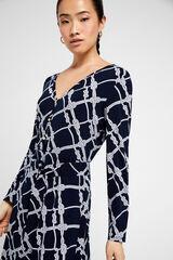 Cortefiel Vestido malha estampado Azul