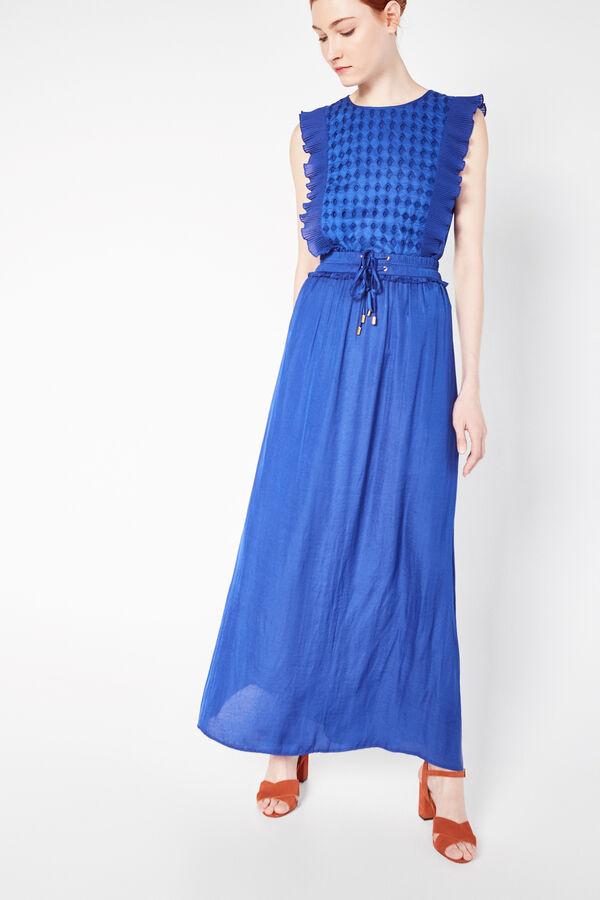 5fc08be64 Cortefiel Falda larga satinada Azul