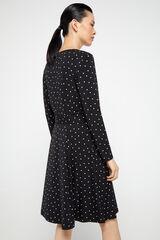 Cortefiel Vestido punto estampado Negro