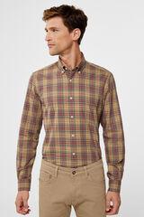 Cortefiel Camisa cuadro tartán Marrón