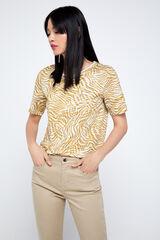 Cortefiel T-shirt algodão orgânico estampagem selvagem Beige