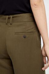 Cortefiel Pantalón ancho con cinturón Gris