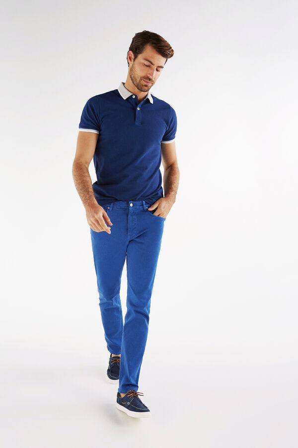 68faefc0eb Cortefiel Pantalón 5 bolsillos color tailored fit Azul