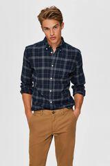 Cortefiel Camisa sostenible de cuadros Azul