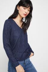 Cortefiel T-shirt decote bico tato suave Azul