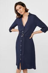 Cortefiel Vestido túnica com cinto Azul