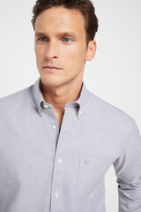 Cortefiel Camisa Oxford lisa algodón orgánico Gris