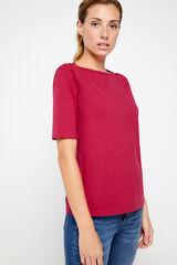 Cortefiel T-shirt básica decote barco Vermelho
