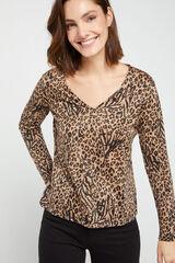 Cortefiel Camiseta animal print lúrex Marrón