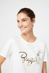 Cortefiel Camiseta Bugs Bunny algodón organico Blanco