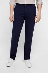 Cortefiel Pantalón lino regular fit Azul