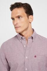 Cortefiel Camisa Oxford lisa algodão orgânico Vermelho