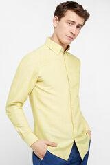 Cortefiel Camisa lino lisa tailored fit Verde