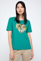 Cortefiel Camiseta orgánica estampada Verde