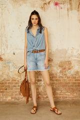 Cortefiel Calções jeans bordado Azul