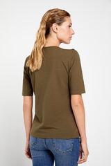 Cortefiel T-shirt básica decote barco Verde