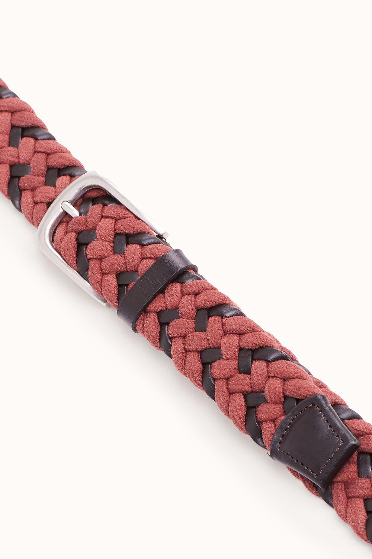 Cortefiel Cinturón trenzado textil y piel Rojo 56918ddc512b