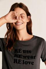 Cortefiel Camiseta cuello barco texto Gris
