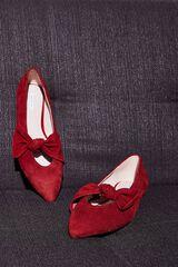 Cortefiel Bailarina punta con lazada Rojo