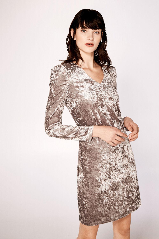 Cortefiel Vestido manga larga terciopelo Gris a7a040f678d9