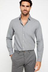 Cortefiel Camisa lisa cinzenta melange Cinzento