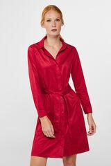 Cortefiel Vestido camiseiro efeito camurça Vermelho